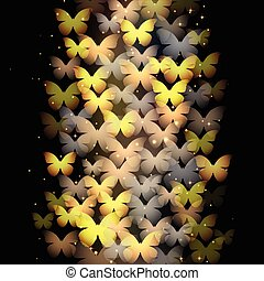 Neon butterflies on black background - Abstract illustration...