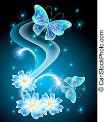Neon butterflies with flowers with and stars