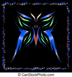 neon, butterfly.
