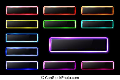 Neon buttons set on black background for web internet mobile app. Color glowing glass banner with plastic plate. Bright illustration