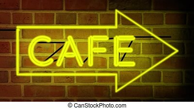 Neon cafe sign above restaurant shows diner with food available. Advertising coffee house or breakfast bar - 4k