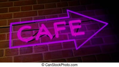 Neon cafe sign illuminated shows diner with food available. Advertising coffee house or breakfast bar - 4k