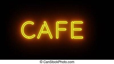 Neon cafe sign outside restaurant coffee bar. For food so drinks such as dinner and tea - 4k