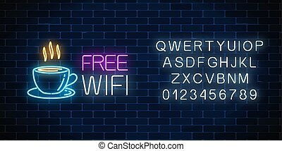 Neon cafe signboard with free wifi zone. Hot coffee cup and advertising lettering glowing sign with alphabet