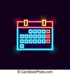 Neon Calendar Icon