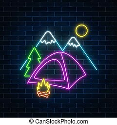 Neon camping sign with tent, bonfire, mountains and spruce. Glowing web banner for summer camp