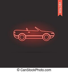 Neon Car Icon, Car Icon Vector, Car Icon Object, Car Icon...