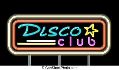neon, cartello, randello disco, disegno
