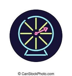 Neon casino roulette inside circle vector design
