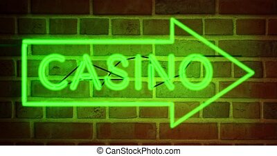 Neon Casino sign with glowing text in Las Vegas or Nevada - 4k
