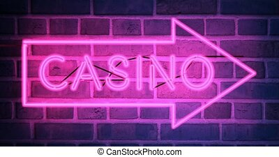 Neon Casino sign with lighted text in Las Vegas or Nevada - 4k