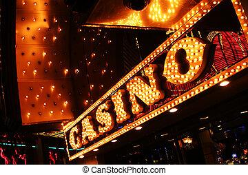 neon, casino, teken., las vegas, nevada, usa.