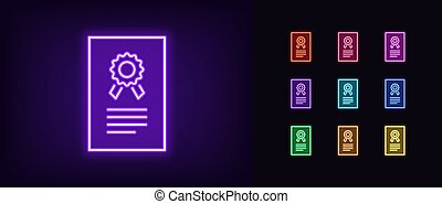 Neon certificate icon. Glowing neon license sign, patent ...