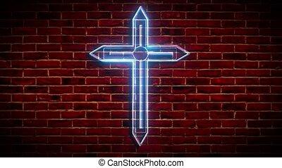 Neon christian cross on a brick wall. Decorative realistic retro element for web design.