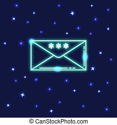 Neon Christmas mail icon in line style
