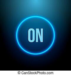 neon, circle., taste, mit, blaues, light., vektor