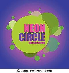 neon, cirkel, konstruktion