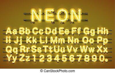 Neon city color yellow font. English alphabet.