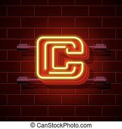 Neon city font letter C signboard. Vector illustration