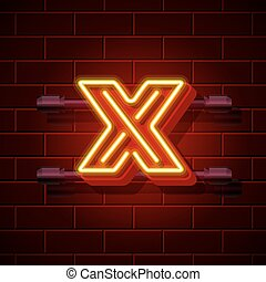 Neon city font letter X signboard. Vector illustration