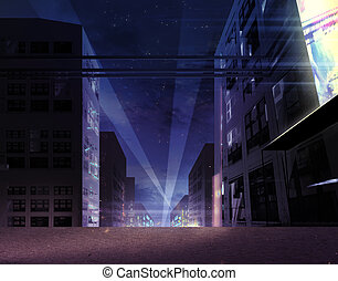 Illustration of the night city street block with neon lights, bright screen and projectors.