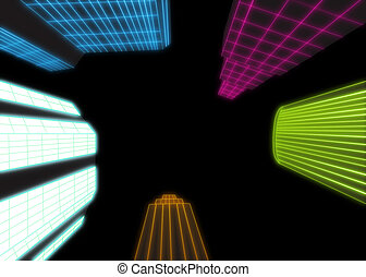 Neon city lights - Skyscrapers with neon glowing grid over ...