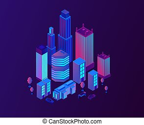 Neon city street design with buildings.