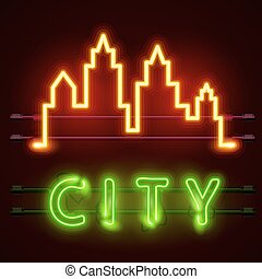 Neon city text banner, City shape.