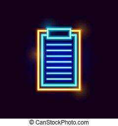 Neon Clipboard Icon