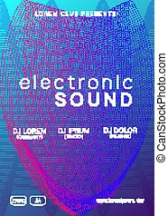 Techno music poster  electronic club deep music  musical event disco