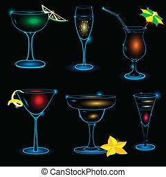 Neon-Cocktail-icon-set