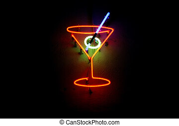 Neon lights cocktail glowing on the wall