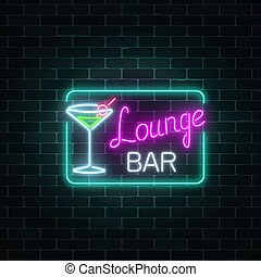 Neon cocktails lounge bar sign in rectangle frame. Glowing gas advertising with glasses of alcohol shake.