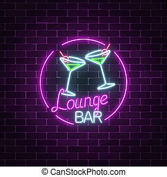 Neon cocktails lounge bar sign on dark brick wall background. Glowing gas advertising with glasses of alcohol shake.