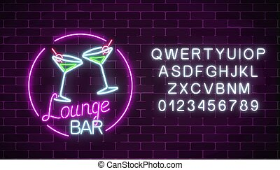 Neon cocktails lounge bar sign with alphabet. Glowing gas advertising with glasses of alcohol shake.