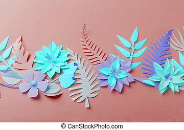 Neon color colorful flower composition - handmade papercraft flowers and leaves on pastel background, spring, summer, easter, holiday modern surreal concept