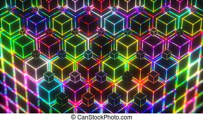 Neon Colorful Lights Cubes 4k Video Background - Neon VJ...