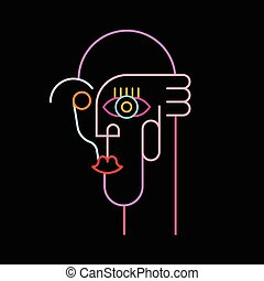 Neon Colors Abstract Portrait