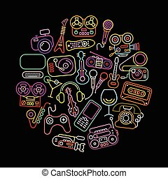 Entertainment icons round shape vector illustration. Neon colors silhouettes isolated on a black background.