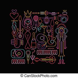 Beauty Pageant vector illustration - Neon colors on a black...