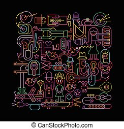 Neon colors on a black background Music Festival vector illustration. People playing musical instruments.