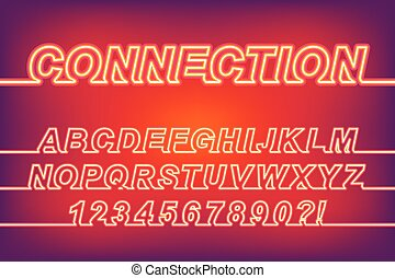 Neon Connection One Line Font - Neon Glow Connection One...