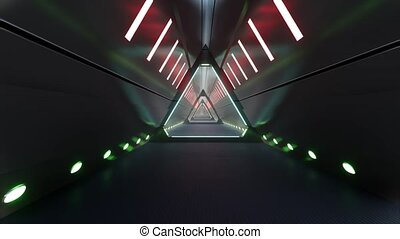 Neon corridor tunnel in abstract style. Game design. Neon light. Led light. 4k