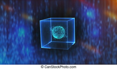 Neon cube with data center in zero gravity on an abstract background, computer generated 3d rendering