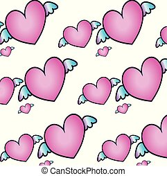 neon cute pattern with hearts on white background.