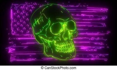 neon, czaszka, bandera, video., usa., cyfrowy