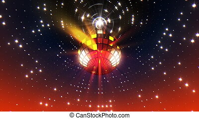 Neon Disco Ball - Disco ball with flares spinning seamless...