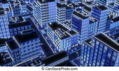 Neon drawing city Urban landscape silhouette Glow light effect City skyline Megalopolis cityscape 4k