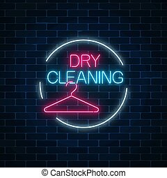 Neon dry cleaning glowing sign with hanger in circle frame. Cleaning service signboard design.