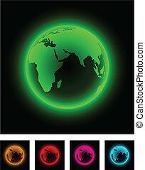 Neon earth. - Neon globe icon. Vector illustration.